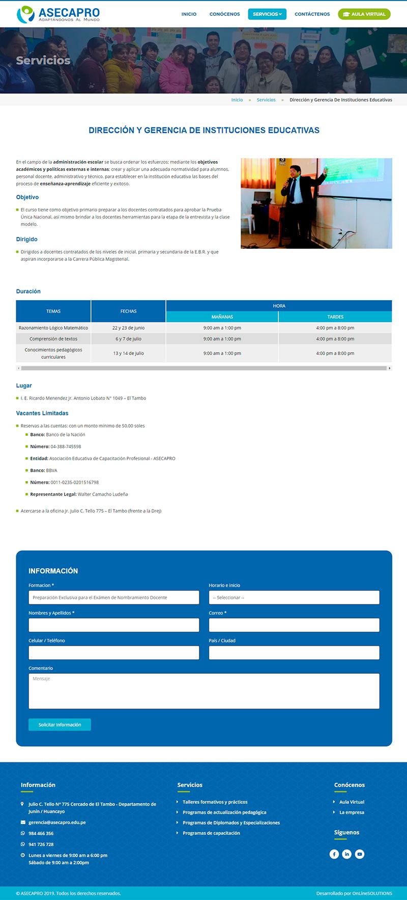 ASECAPRO - Detalle del servicio