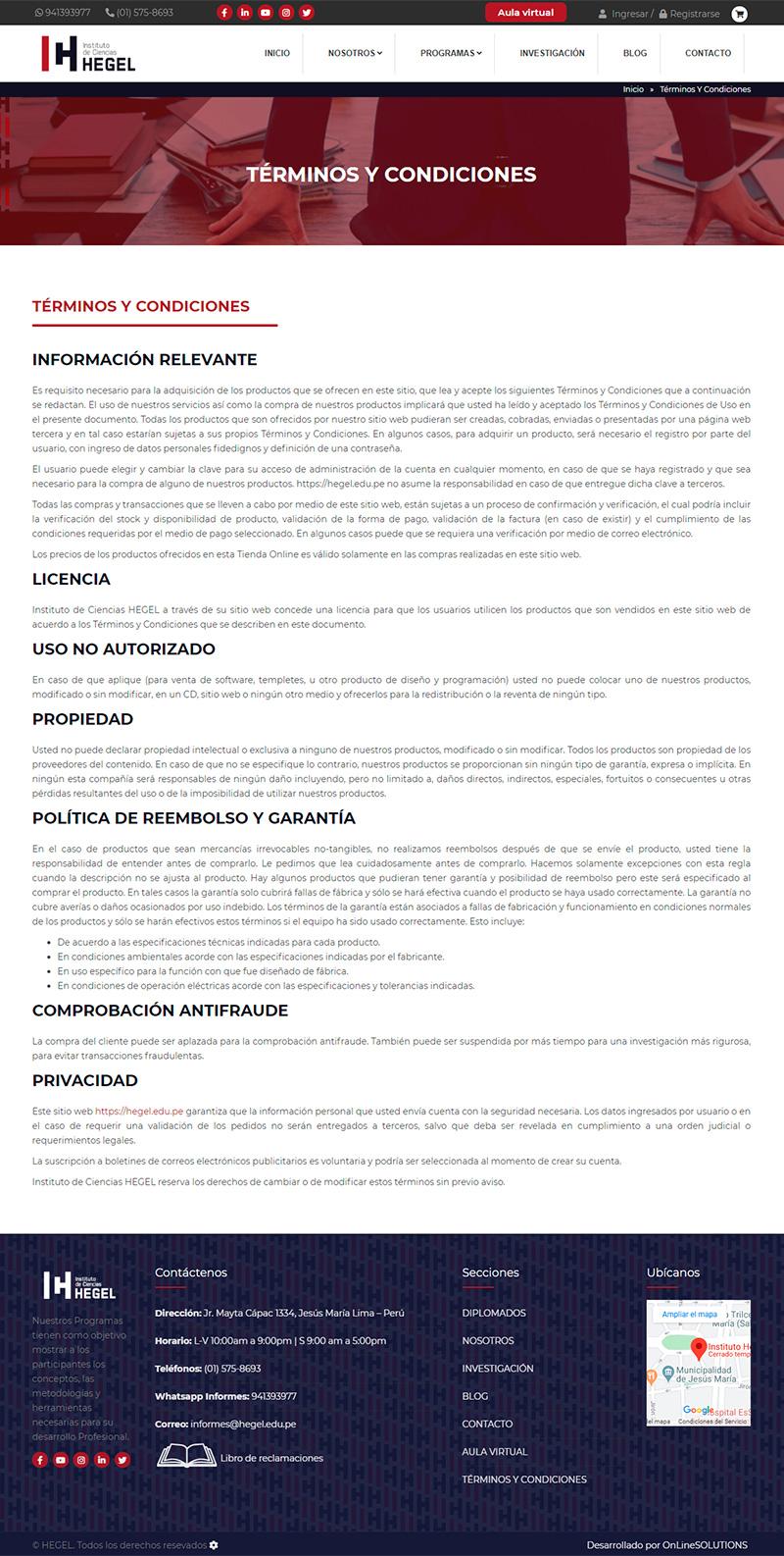 HEGEL-  Terminos y condiciones